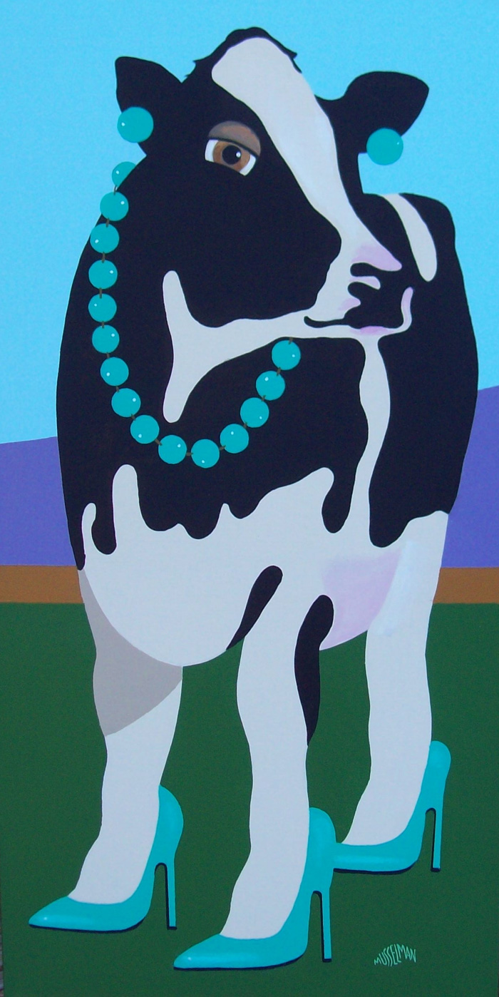 Cows In Stilettos - Aqua   (18 x 36)