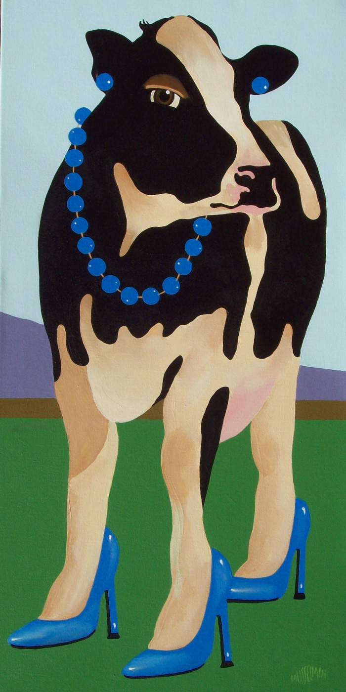Cows In Stilettos - Blue   (18 x 36)