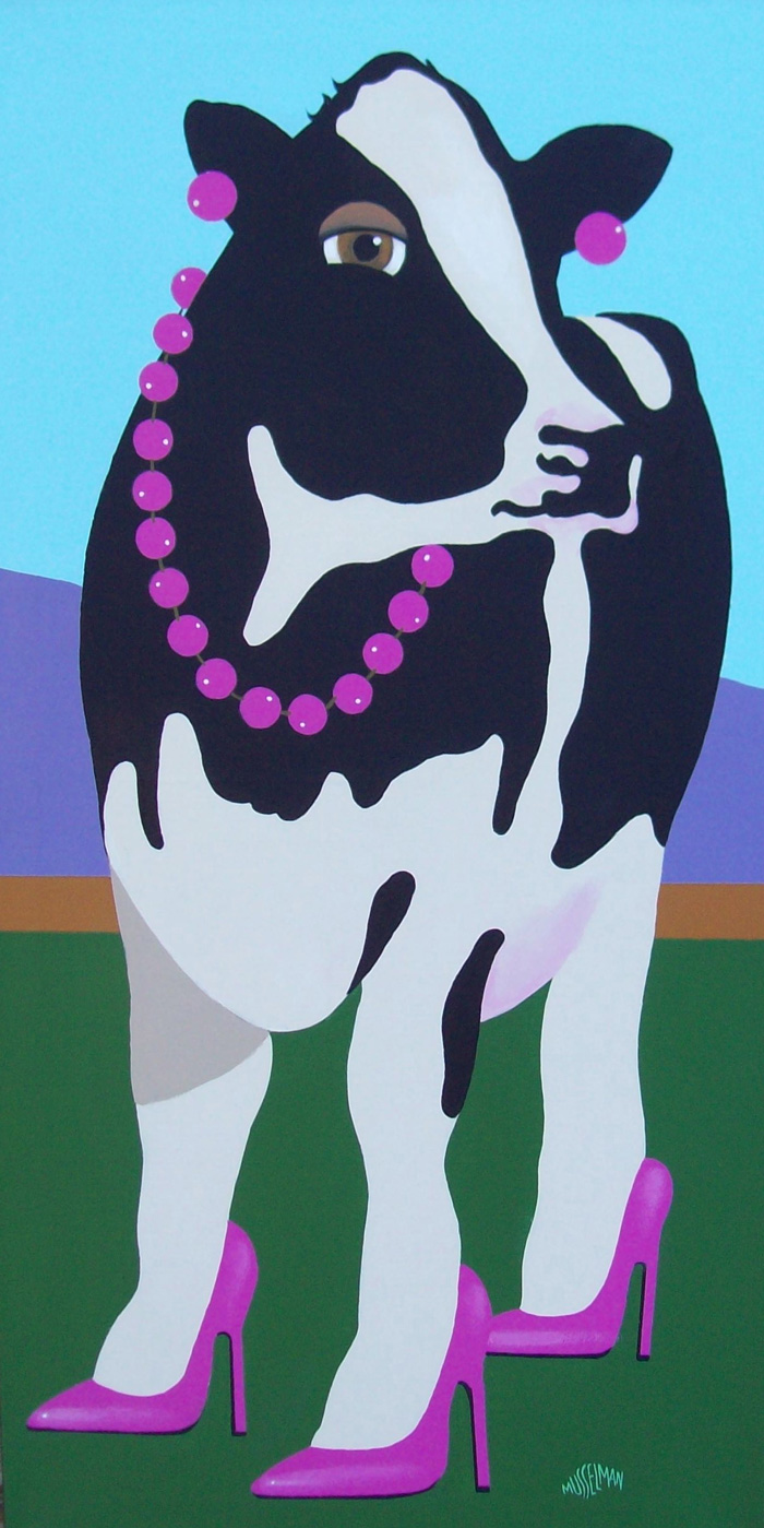 Cows In Stilettos - Magenta   (18 x 36)