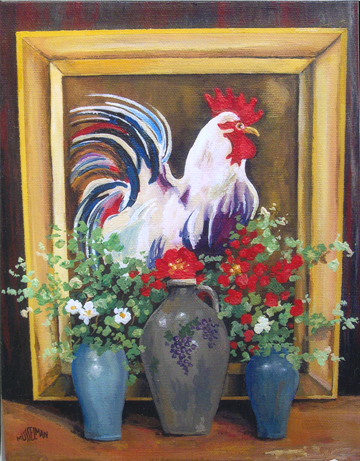 Rooster, Jugs & Flowers   (11 x 14)