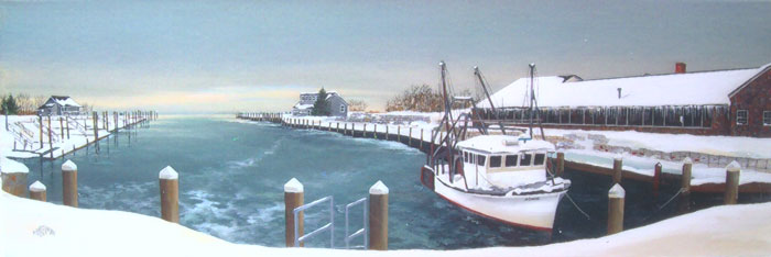 Snowy Day at the Dock   (12 x 36)