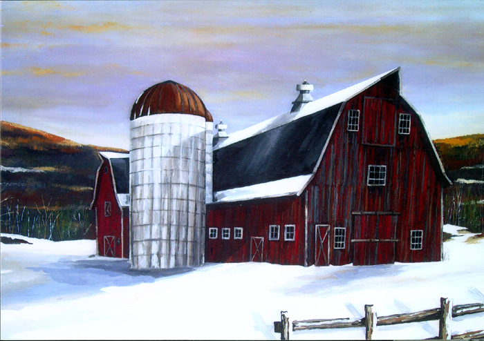Winter Down on the Farm   (24 x 36)